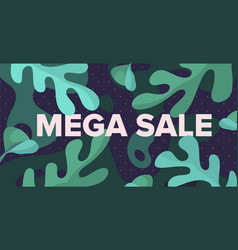 mega sale banner design template with vector image