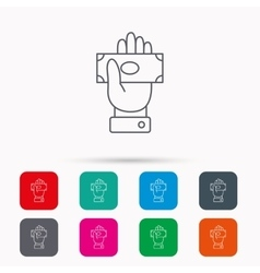 Money icon Cash in giving hand sign vector image