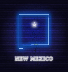 neon map state new mexico on a brick wall vector image