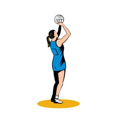 Netball player shooting ball vector