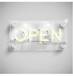 open behind a glass table vector image