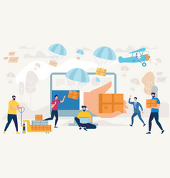 people characters shopping express delivery vector image