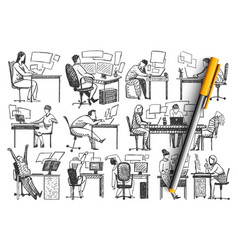 people in office hand drawn doodle set vector image