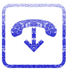 Phone hang up framed textured icon vector