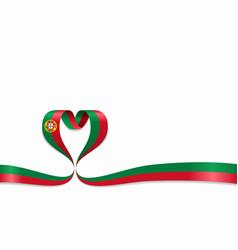 Portuguese flag heart-shaped ribbon vector