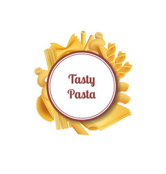 realistic pasta types with place for text vector image