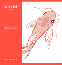 red menu koi fish illustration japanese chinese vector image