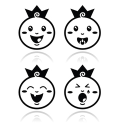 Royal baby little prince icons set vector