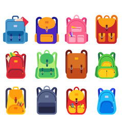 School bags backpacks with zipper and pockets for vector