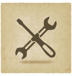 screw driver and wrench symbol old background vector image