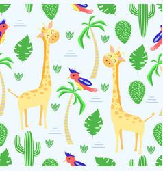 seamless pattern with giraffe in scandinavian styl vector image