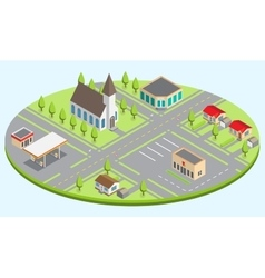 Set of the isometric city buildings vector
