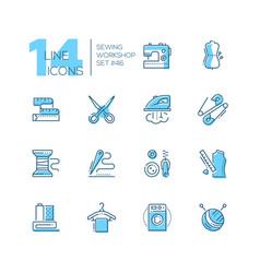 sewing workshop - set line design style icons vector image
