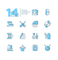 Sewing workshop - set of line design style icons vector