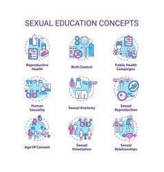 Sexual education concept icons set vector