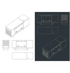 Silent diesel generator blueprints vector