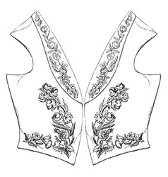 Sleeveless upper body garment vintage engraving vector