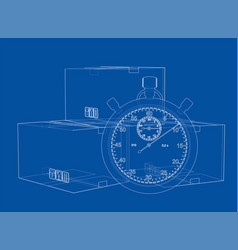 Stopwatch with cardboard box sketch vector