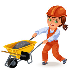strong woman builder in helmet and uniform rolls a vector image
