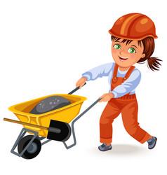 Strong woman builder in helmet and uniform rolls a vector