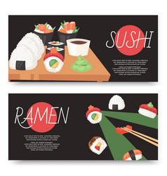 Sushi and ramen bar set banners vector
