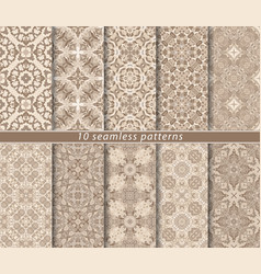 ten seamless patterns in oriental style vector image
