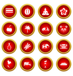 Thailand icon red circle set vector