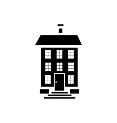 Three storey house icon simple style vector image