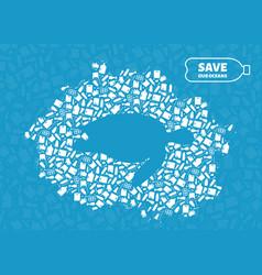 turtle plastic trash planet pollution concept vector image