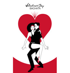 valentines day couple dancing bachata on heart in vector image