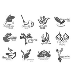 vegetarian cuisine vegan healthy food icons vector image
