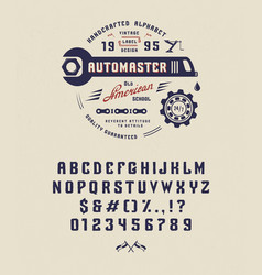 vintage font automaster vector image