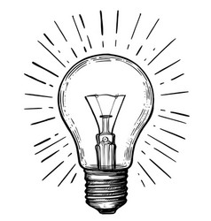 vintage light bulb in sketch style vector image