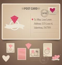 Vintage postcard background and Postage Stamps - vector