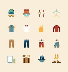 web flat icons set - man clothing store vector image
