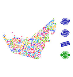 welcome collage of mosaic map of united arab vector image