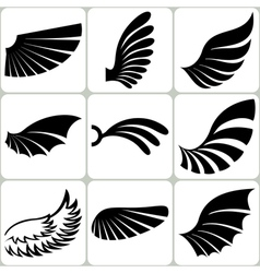 Wings Set Design Elements vector image