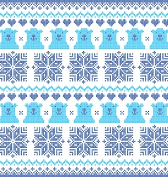 Winter Christmas navy blue seamless bear pattern vector image