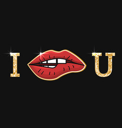 with red womens lips and golden vector image