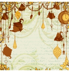 Antique background with tea party theme vector image vector image