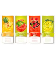 Big set of labels with fruit in juice splash vector