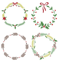 Christmas Circle Borders Wreaths Frames vector image