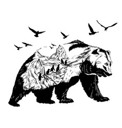 double exposure bear and polar pole and glaciers vector image