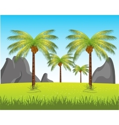 Landscape with palm vector image