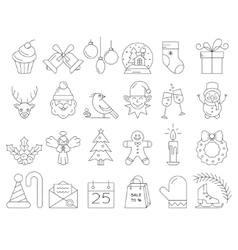 Linear collection of Christmas icons vector image vector image