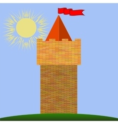 Old red brick castle vector
