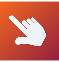 Paper Hand Cursor in Perspective on Orange vector image vector image