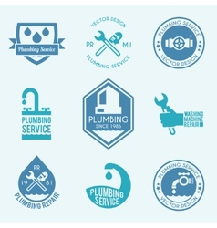 Plumbing labels icons set vector image vector image