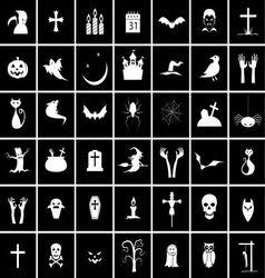 42 halloween icons vector image