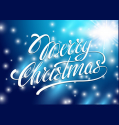 Christmas Card Merry Christmas lettering on a blue vector image